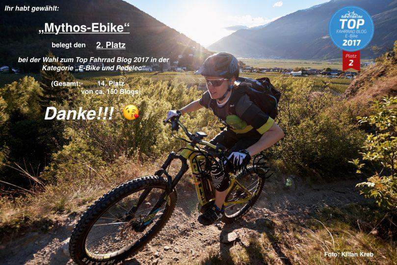 """2. Platz bei der Wahl zum """"Top Fahrrad Blog 2017"""" in der Kategorie """"E-Bike und Pedelec""""!!!"""
