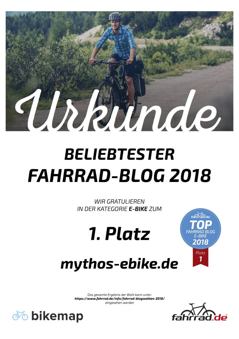 Der beliebteste E-Bike und E-Mountainbike Blog 2018 ist Mythos Ebike