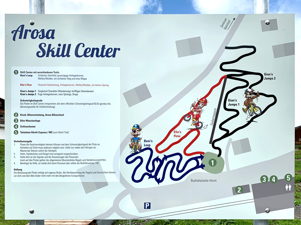 Arosa MTB Skill Center Trailkarte